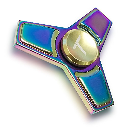 Trianium Rainbow Metal Fidget Spinner Focus Finger Toy Stress Reducer Hand Spinner [Rainbow Style 4] Stainless Steel Bearing great for Relieving ADHD, Anxiety, Stress, Boredom for Child, Adult