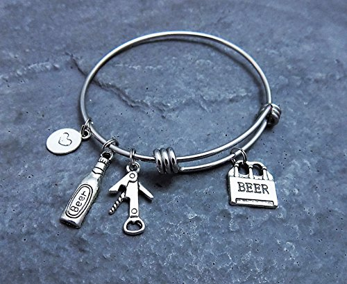 Beer Lovers Charm Bracelet Stainless Steel Expandable Bangle