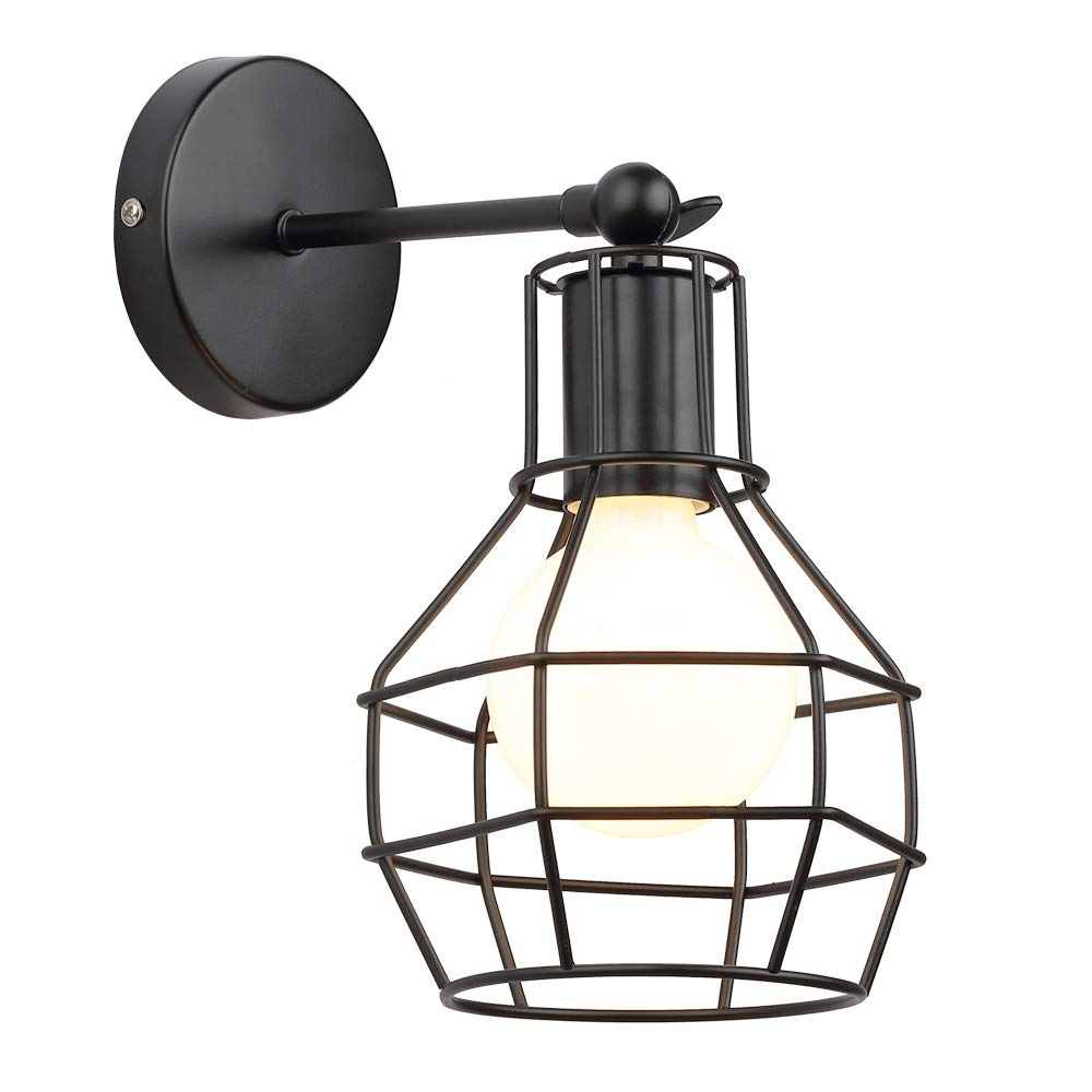 KOONTING Retro Vintage Industrial Loft Iron Metal Wall Light Wall Lamps Small Cage Shape with E27 Socket for House, Bar, Restaurants, Coffee Shop, Club Decoration (220-240V, Bulbs not Included) [Energy Class A++]