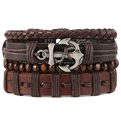 HZMAN Mix 4 Wrap Bracelets Men Women, Hemp Cords Wood Beads Ethnic Tribal Bracelets, Leather Wristbands (SZ809043)
