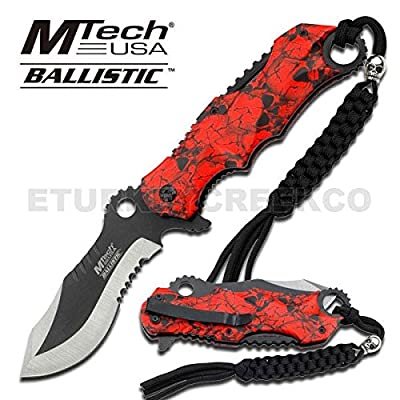 "MT-A808RD M-Tech Skull OMwBXG Handle Ballistic O1LtC Assist Knife W/ Lanyard 4.5"" folding knife steel shar tyusjh56 45ghjbn45 Red Skull Handle Assisted Opening Knife Includes Lanyard With Rope. 4 1/2 2WnL3w Inch Overall closed in length. Features 2 tone p"