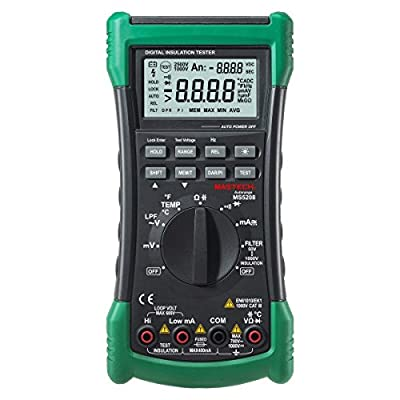 Mastech MS5208 6600 Counts Digital Multimeter Insulation Resistance Meter True RMS AC Voltage Current Temperature Tester