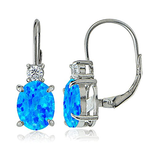 Sterling Silver White Topaz and Created Blue Opal Leverback Earrings ()