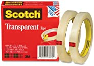 Scotch Transparent Tape, Narrow Width, Engineered for Office and Home Use, Trusted Favorite, 1/2 x 2592 Inches