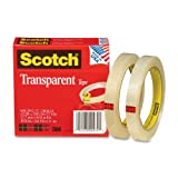 Office Products : Scotch Transparent Clear Finish Tape, Great Value, 1/2 x 2592 Inches, 3 Inch Core, 2 Rolls (600-2P12-72)