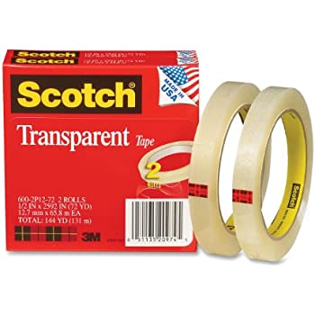 Scotch Transparent Tape, Narrow Width, Engineered for Office and Home Use, Trusted Favorite, 1/2 x 2592 Inches, 3 Inch Core, 2 Rolls (600-2P12-72)