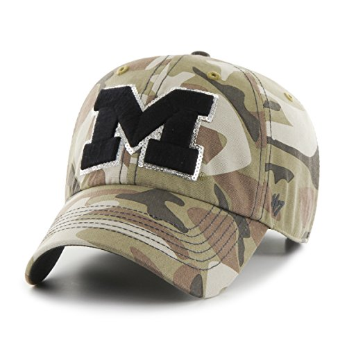 Camo Sparkle ('47 NCAA Michigan Wolverines Women's Sparkle Camo Clean Up Hat, Women's, Faded Camo)