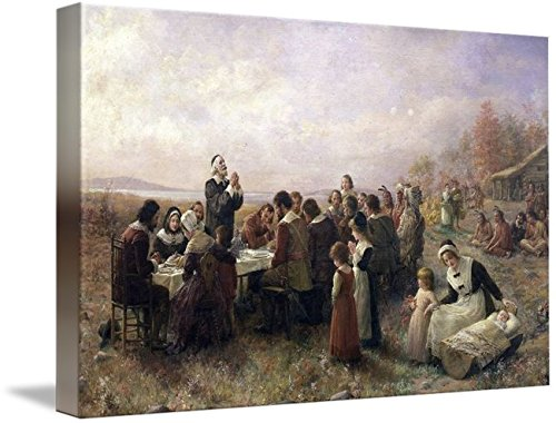 (Imagekind Wall Art Print Entitled First Thanksgiving Vintage Painting by Alleycatshirts @Zazzle | 10 x 6)