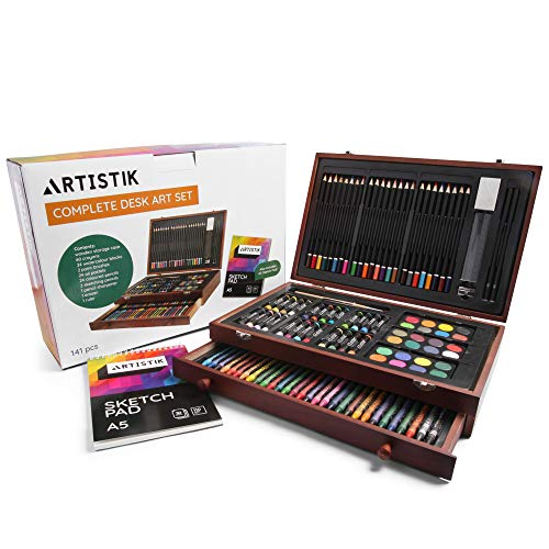Deluxe Art Set - (141 Piece) Professional Painting, Sketching & Drawing | All Media Art Set, with Wood Art Box & Bonus A5 Sketchpad Included, Artistik Art & Artist Supplies Kit
