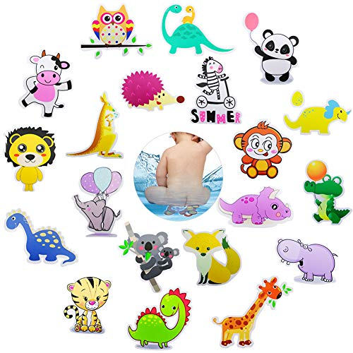 Hangnuo 20 Set Non-Slip Bathtub Stickers, Mildew Resistant Zoo Animal Decal Treads, Adhesive Shower Safety Appliques for Baby Kids Bath Tub