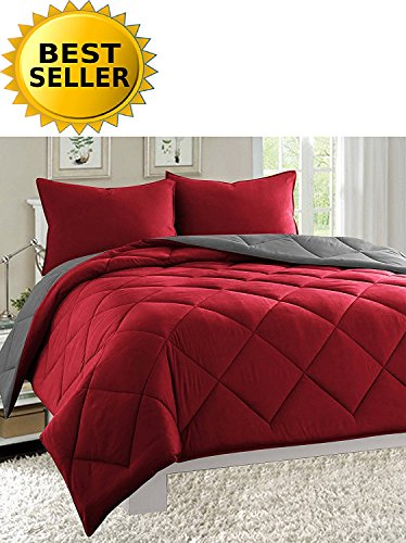 Holiday King Comforter - Celine Linen Luxury All Season Light Weight Down Alternative Reversible 3-Piece Comforter Set - HypoAllergenic, Diamond Stitched, King, Burgundy/Grey