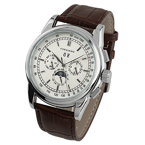 Mens 48mm Mechanical Watch Brown Leather Stainless Steel White Dial Silver Case