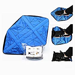 OkyRie Step in Sock Reusable Shoe Covers for Clean, Hand Free Just Step, Snap, and Go Boot Shoe Covers, Washable for Floor Protector, Sneakers, Trainers(1 Pair Blue)