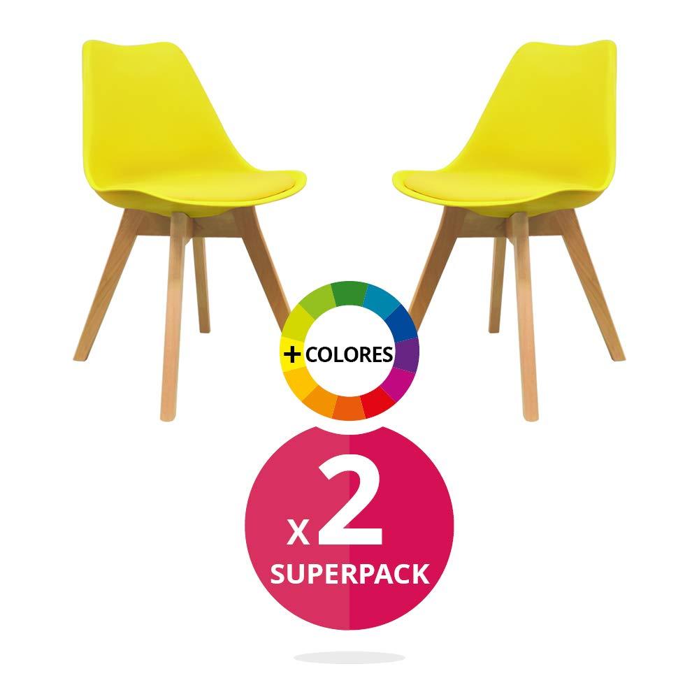 Silla Nórdica (Pack 2) - Silla escandinava Amarilla - silla nordic scandi inspirada en silla eames dsw - Mona - (Elige tu color): Amazon.es: Hogar
