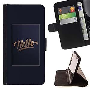 Momo Phone Case / Flip Funda de Cuero Case Cover - Affiche Texte Dégradé Gris Salut - Huawei Ascend P8 Lite (Not for Normal P8)