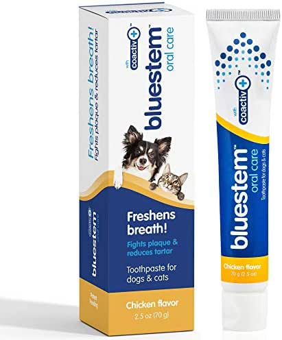 bluestem Dog Toothpaste : Chicken Flavor Tooth Paste for Dogs & Cats. Teeth Brushing Cleaner Pet Breath Freshener Oral Care Dental Cleaning Kit. Tartar & Plaque Remover Brushes