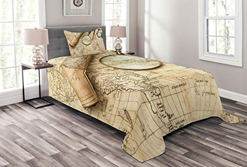 Lunarable World Map Bedspread Set Twin Size, Vintage World Map with Old Retro Objects and Magnifier Discovery Theme Antique Print, Decorative Quilted 2 Piece Coverlet Set with Pillow Sham, Cream