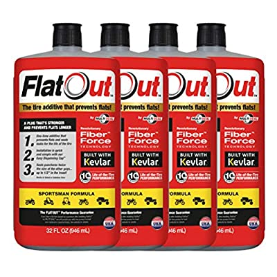 FlatOut 99908 4-Pack Tire Additive (Sportsman Formula), for ATVs, UTVs Sides, Golf Carts, Dirt Bikes, Off-Road-Only Jeeps and More, 4 Pack: Automotive