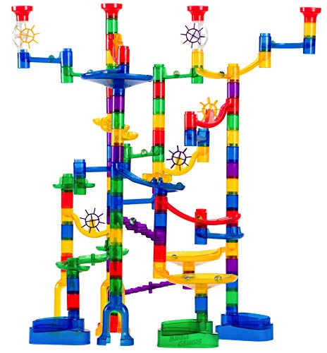 Marble Genius Marble Run Super Set - 100 Complete Pieces + Free Instruction App (85 Translucent Marbulous Pieces + 15 Glass Marbles) (Techno Run)