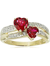 10k Yellow Gold Created Ruby and Genuine Diamond Double Heart Ring, Size 7