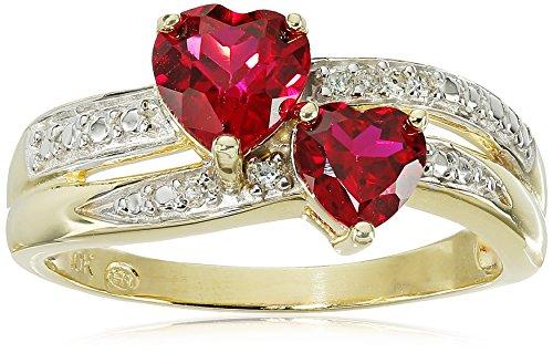 10k Yellow Gold Created Ruby and Genuine Diamond Double Heart Ring, Size 7 10k Yellow Gold Created Ruby