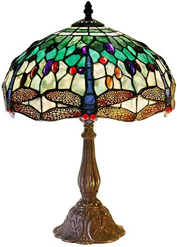 Warehouse of Tiffany KS37GS MB06 Tiffany Style White Dragonfly Table Lamp