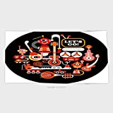 27.5W x 11.8L Inches Custom Cotton Microfiber Ultra Soft Hand Towel Futuristic Recording Studio Illustration. Round Shape Art Collage Of A Musical Instruments And Electro