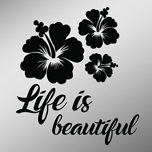 DD816 Hibiscus Flower Life is Beautiful Decal Sticker | 5.5-Inches by 4.9-Inches | Premium Quality Black Vinyl