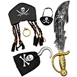 Toy Halloween Pirate Costume Set Including Hat, Eye Patche, Sword, Ear Ring and Hook