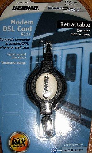 Retractable Cord Rj11 Modem Cable - Gemini Modem DSL Retractable 3.9 Foot Cord RJ11