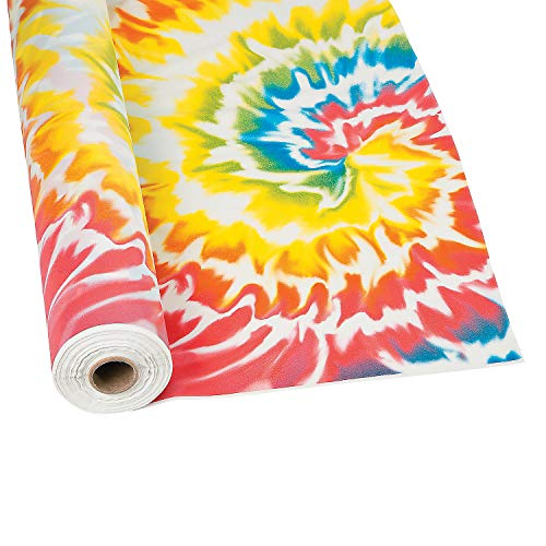 Fun Express - Tie Dye Tablecloth Roll (100 ft) - Party Supplies and Table Covers]()