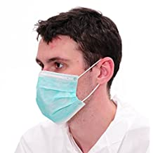 Raytex 50/bx 3-Ply Superior Disposable Latex Free Face Mask, Breathable and Comfortable Mouth Cover with Premium Elastic Ear Loop, Built-in nose piece molds for Medical, Dental, Nail Salons (green)