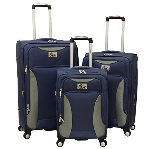 Chariot Bari 3 Piece Lightweight Upright Spinner Luggage Set, Navy Grey, One Size
