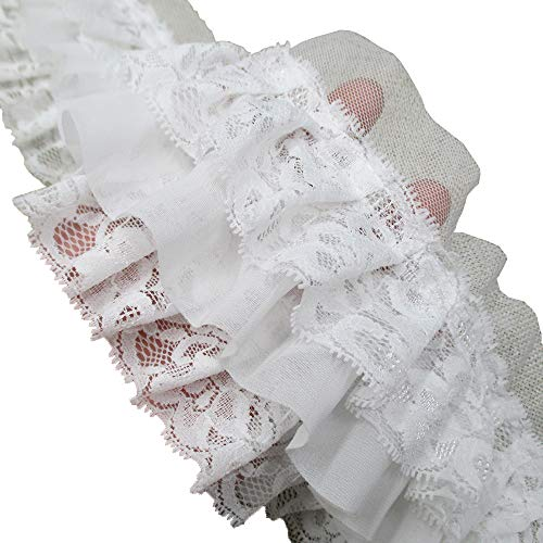 Fabric Extender - 3-1/2 Inch Wide Ruffled Lace Fringe Lace Trim Skirt Extender Dress Sewing Accessory (2-Yards, White)