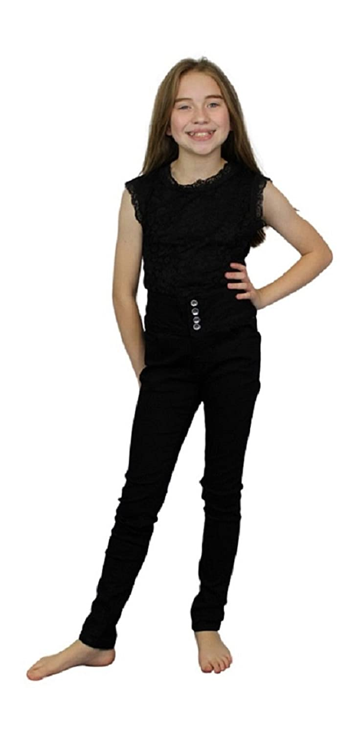 Ozmoint Girls Black Skinny Slim Fitted Stretch High Waisted Jeans Button Front Detail Five Pocket Jean (7-13 Years)