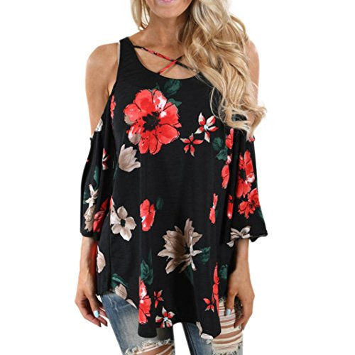 (2018 Women Floral Shirts Print T-Shirt Three Quarter Sleeve Blouse Off Shoulder)
