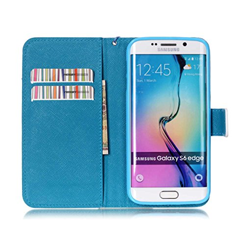Galaxy S6 Edge Coque , Samsung Galaxy S6 Edge Coque Lifetrut® [ the iPhone is Locked ] [Wallet Fonction] [stand Feature] Magnetic snap Wallet Wallet Prime Flip Coque Etui pour Samsung Galaxy S6 Edge