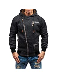 bb16514d253f Pervobs Men s Autumn Fashion Long Sleeve Zipper Pockets Hooded Sweatshirt  Hoodies