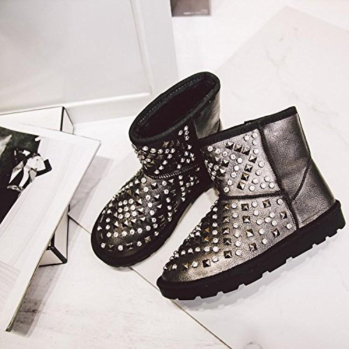 rotonda rotonda stivali neve dei 39 pelle rhinestone testa testa testa donne della delle scarponi del rivetto GUNCOLOR d'inverno bovina NSXZ da 37 WqzSgZnC