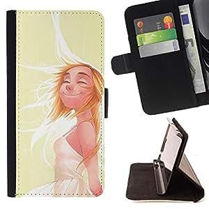 BullDog Case - FOR/LG Nexus 5 D820 D821 / - / GIRL HAPPY SUNSHINE POSITIVE LIFE WHITE HAIR /- Monedero de cuero de la PU Llevar cubierta de la caja con el ID Credit Card Slots Flip funda de cuer