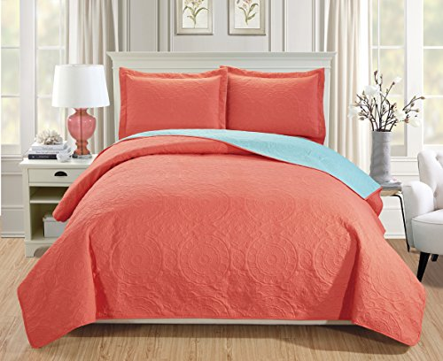 RT Designers Collection Quilt Set Lexington 3-Piece Reversible, Queen, - Aqua Coral