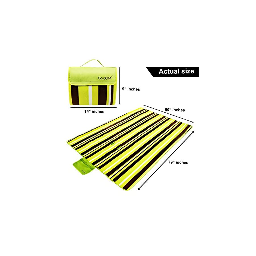 Scuddles Extra Large 60 X 79 INCH Picnic & Outdoor Blanket Dual Layers For Outdoor Water Resistant Handy Mat Tote Spring Summer Striped Great for the Beach,Camping on Grass Waterproof