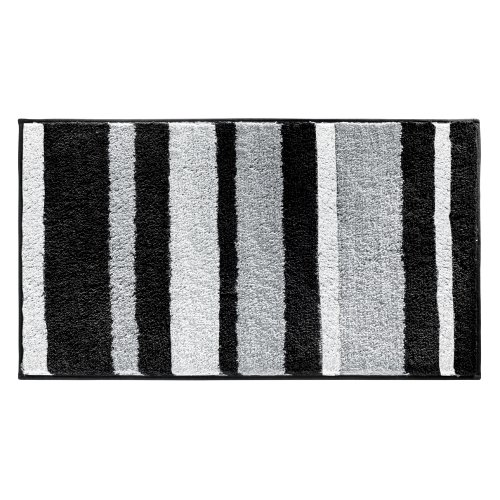 InterDesign Microfiber Polyester Stripes Bath Mat, Non-Slip Shower Accent Rug for Master, Guest, and Kids' Bathroom, 34