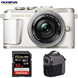 Olympus V205092WU010 PEN E-PL9 16.1 MP Wi-Fi 4K Mirrorless Camera (Pearl White) w/Silver 14-42mm F3.5-5.6 EZ Lens Kit + Sandisk 32GB Extreme PRO SDXC Memory Card + Tamrac Tradewind 2.6 Shoulder Bag
