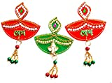 Multi color Stone Studded Acrylic Handcrafted Designer SHUBH-LABH-GANESH in Zoomar Diya-(A Hindu Symbol)- A sticker for DOOR/WALL/FLOOR DECORATION/DIWALI DECORATION - Pack of 3