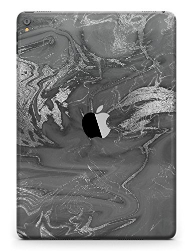 Marble Pattern Design Skinz Premium Full-Body Cover Wrap Decal Skin Kit for the Apple iPad Mini 4 (A1538/A1550) - Black & Silver Marble Swirl V7