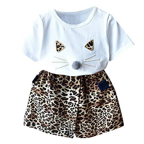 Rakkiss Girls Clothes Set Cat Print Ear Tops Leopard Print Short Pants Outfits Set Coffee