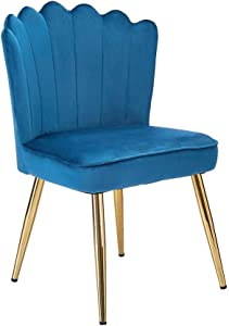 CangLong Velvet Accent Chair for Living Room/Bed Room/Guest Room, Upholstered Mid Century Modern Leisure Chair with Metal Legs Guest Chair Vanity Chair, Teal Blue