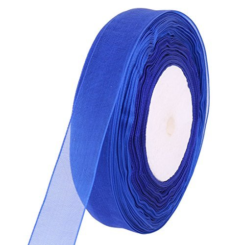 eDealMax Artisanat Organza Emballage Cadeau Stain Rouleau de Ruban 2cmx50 Yards Bleu