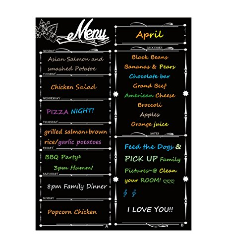 Magnetic Refrigerator Chalkboard, Liebhome Weekly Menu, Meal Planner, Grocery Shopping List, Dry Erase Board, for Kitchen Fridge Memo Board (16inchx12inch, Vertical Flat Pack) Black ()